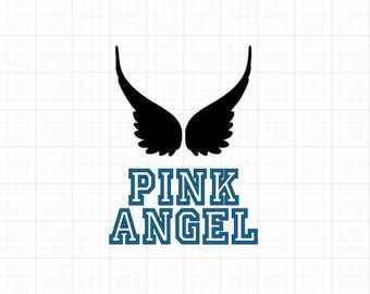 Pink Angel w/ Wings - Iron On Vinyl Decal Heat Transfer