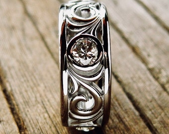 Wedding Ring with Reclaimed Diamonds in 14K White Gold with Vintage Style Scroll Work and Glossy Finish Size 3.5