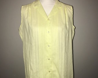 Vintage 70's Pale Yellow Cotton Sleeveless Top / size large/XL / by Sears