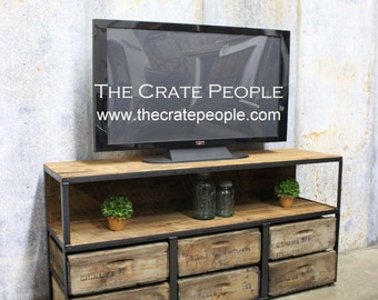 Reclaimed 100 yr old Barn Wood & Wood Crates | 6  Drawer TV Console | Custom Furniture