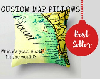Custom Map Pillow, Accent Pillows for Urban Decor, City Maps, Wife to Husband Gift, Custom Map Gifts, Husband  Gift Vintage Maps of Hometown