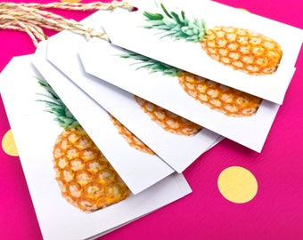 Pineapple Gift Tags. 10 Watercolor Tropical Fruit Gift Tag Labels. Gift Embellishments. Summer Novelty Gift Tags. Fun tags. Cool Food Tags