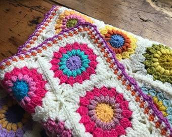 crochet baby blanket girl, boho nursery bedding, baby girl blanket floral, bohemian nursery decor, stroller blanket crochet lap blanket