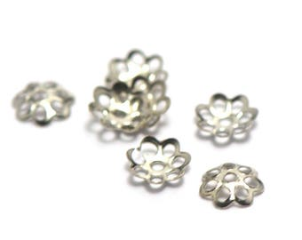 100 bead caps filigree 6 x 1 mm, silver