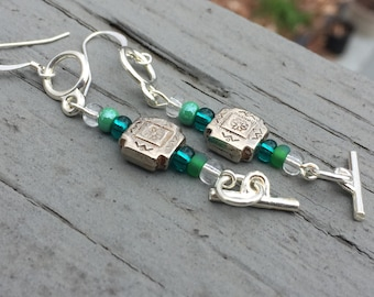 Dangle earrings, boho earrings, edgy earrings, hippy earrings, trendy earrings, gypsy earrings, green earrings, gift earrings