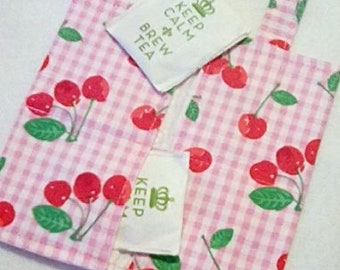 Tea Bag Wallet, CHERRIES on PLAID, Four Pockets, Handmade, FREE Shipping USa, Holds Tea & Sweetener - Also Travel Jewelry Wallet