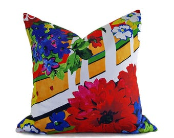 Spring Pillows, Floral Pillow, Throw Pillows, Country Pillows, Colorful Pillows, Mothers Day Gift, Red Blue Yellow Pillow, Zipper, 20x20
