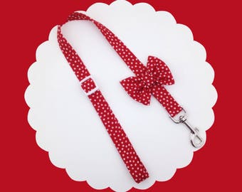 Red & White Dot Bow Dog or Puppy Leash