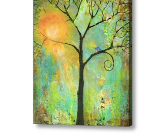 Oversized Extra Large Stretched Canvas Print Fine Art 30X40 Giclee Blue Birds Art Tree of Life Decor Couple