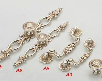 "Dresser Knobs Pulls Drawer Knob Pull Handles Antique Silver Kitchen Cabinet Handles Knobs Door Handle 3"" 3.75"" 5"" 6.3"" 76 96 128 160 mm"