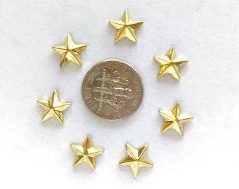 10mm Gold Metal Star Shaped Studs Hot Fix (HotFix) Iron On or Glue on Flat Back Studs/ 100 pcs., 50 Pcs. or 25 Pcs.