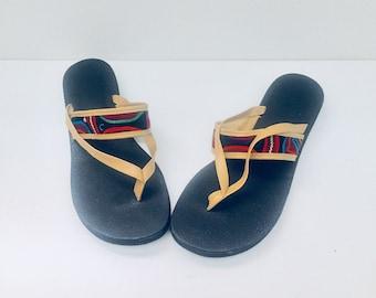 80s Flip Flops Thongs Sandals Tapestry Kilim Boho Size 8.5 1/2 M 39 40