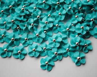 Cake Decorations-Royal Icing Flowers in Light Blue- Green with Silver Dragee Center (50)