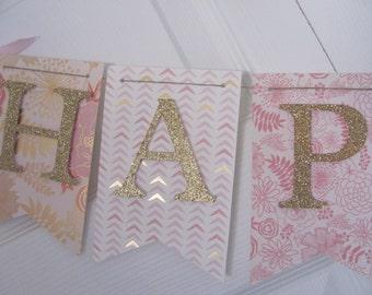 Pink and Gold Birthday Banner, Happy Birthday Banner, Happy Birthday, Girl Banner 1st Birthday
