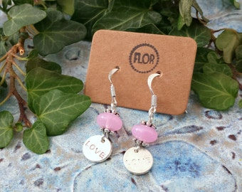 Pink love earrings - Earrings with a pastel pink bead and love charm