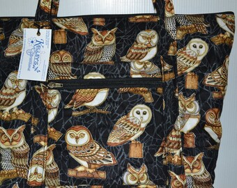 Quilted Fabric Handbag Black with Beautiful Owls