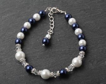 Flower girl bracelet, Navy pearl bracelet, Navy flower girl jewelry, junior bridesmaid jewelry, girl jewelry, navy wedding, flower girl gift