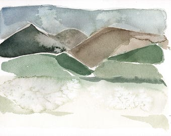 Winter landscape. Original Watercolor