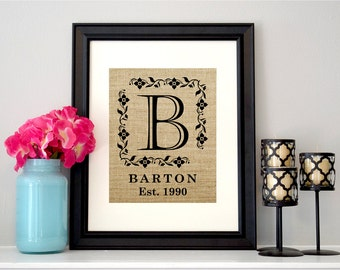 Family Monogram Sign | Family Established Sign | Family Name Sign | Burlap Family Sign