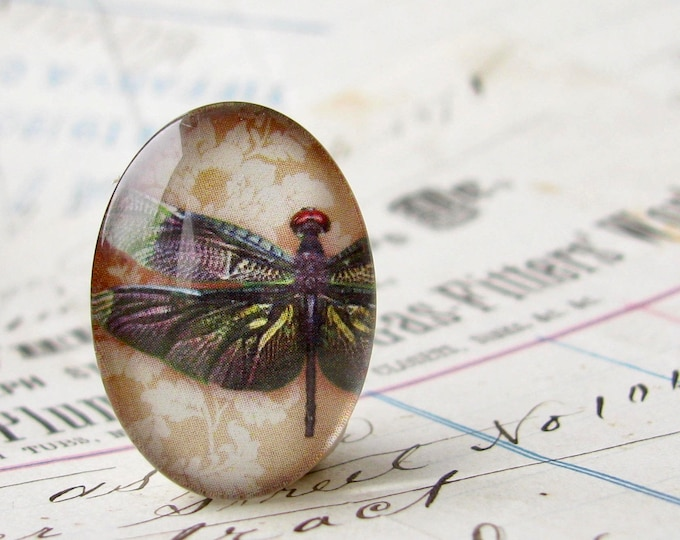 Dark wing dragonfly, 25x18mm glass oval cabochon, iridescent, handmade in this shop, insect, bug, garden, Winged Wonders collection