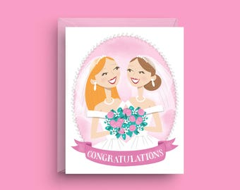 Lesbian Wedding Card, Gay Engagement Card, Gay Wedding Gift, Newly Wedded Couple, Card for Gay Wedding, Card for Bride, Gay Wedding Shower
