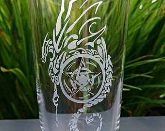 Highball Glass Engraved with Dragon & Pentacle Design - Personalised