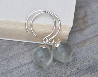 Glass Ball Dangle Earrings, Bridal Earrings Handmade In The UK