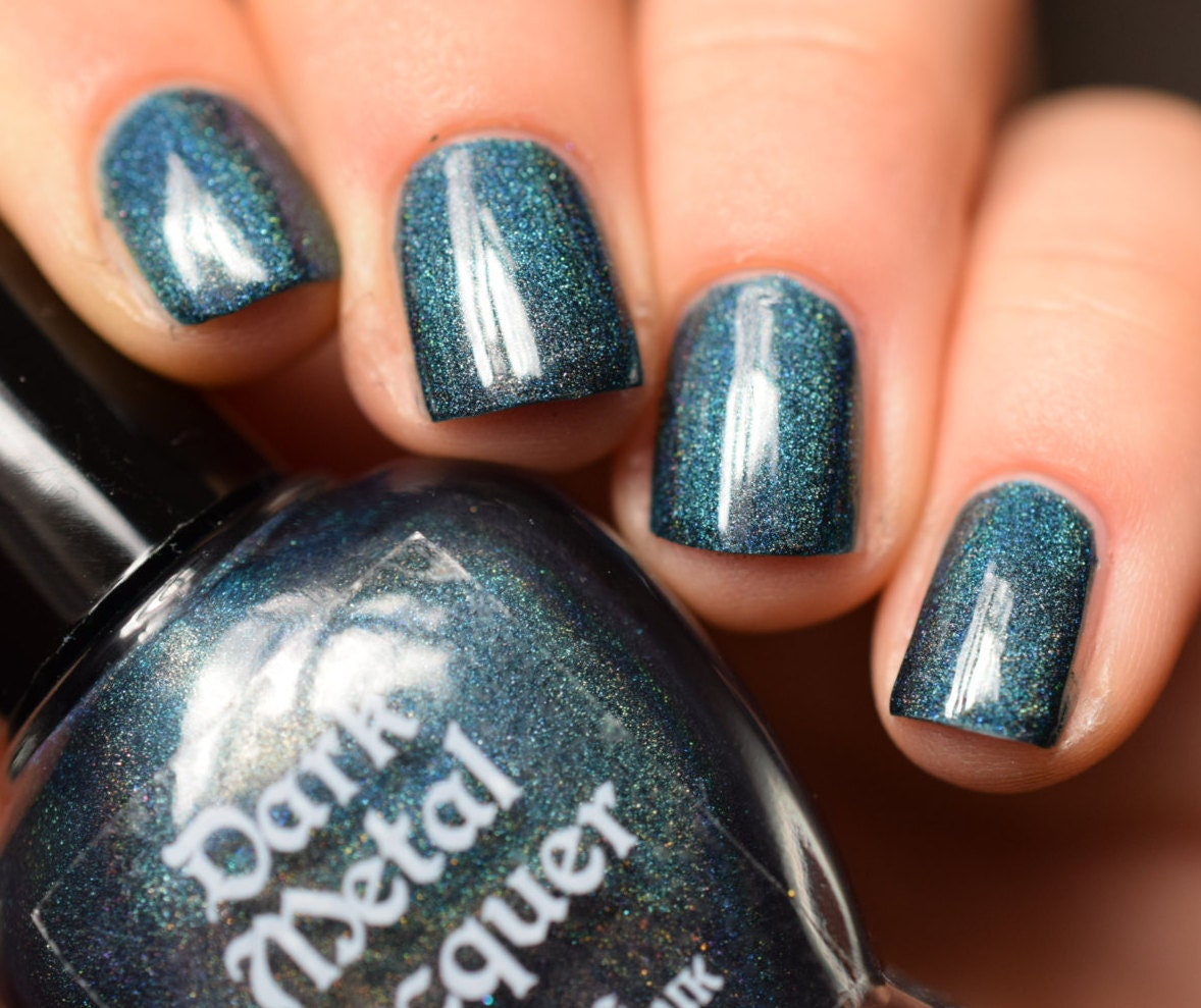 You\'re Not Here - Dark Teal holographic creme nail polish (11ml ...