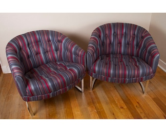 Vintage 1960s Pair of Mid Century Modern Milo Baughman for Thayer Coggin Chrome Barrel Back Striped Tufted Club Chairs