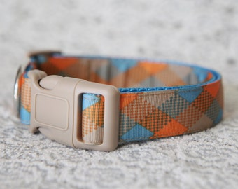 """Orange & Blue Plaid Collar, 1"""" wide, available in M, L, XL"""