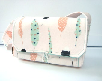 """Large 4"""" Size Coupon Organizer Bag Holder - Attaches to Your Cart Mint and Blush Feathers - PICK YOUR SIZE"""