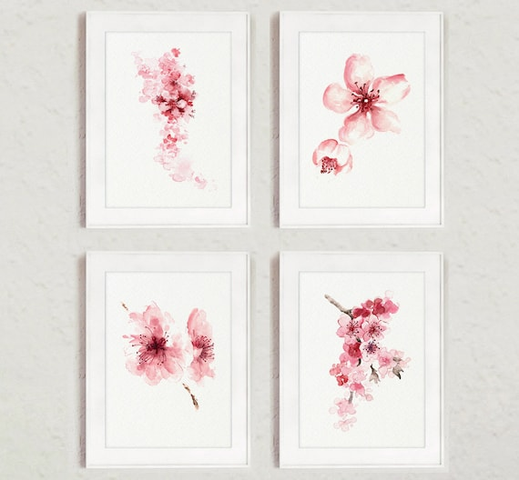 Cherry blossom flowers set of 4 watercolor prints pink home mightylinksfo