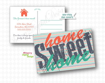 Home Sweet Home Moving Announcement Post Card | Printed or Printable new address postcard | Address Change Card | We have moved
