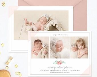 Birth Announcement Template, Birth Announcement Girl, Photography Templates, Birth Announcement Card for Photoshop - BA173