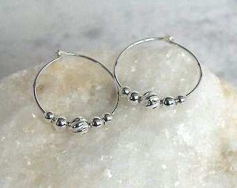 Sterling Silver Bead Hoop Earrings, Sterling Silver Hoops - Moon Energy - 18mm Hoop (approx 3/4 inch)