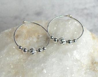 Sterling Silver Bead Hoop Earrings, Sterling Silver Hoops - Moon Energy - 18mm Hoop (approx 3/4 inch)