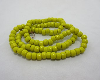Solid Yellow Glass Crow Beads, Pony Beads, 9 mm Beads, 9 mm diameter x 6 mm thick with a 4 mm hole, Bead Strand, 100 Beads #84
