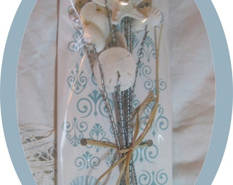 Wired Bouquet Shells - Seashells - 1 Dozen Starfish and Shells for Wedding Bouquets and Centerpieces