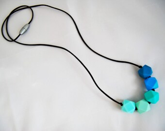 Mint, Aqua, and Blue Silicone Teething Necklace/ Nursing Necklace/Sensory Necklace/Chewelry