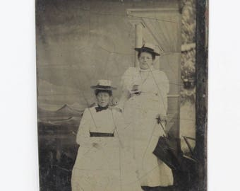 1900's Tintype 2 Woman in White Dress Carnival Sea Scape