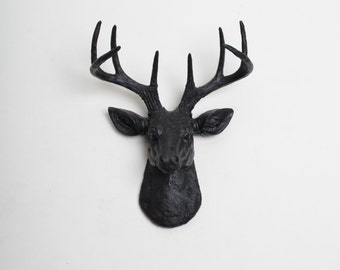 Mini Deer Head Wall Mount in Black, The Mini Ignatius Animal Head by White Faux Taxidermy