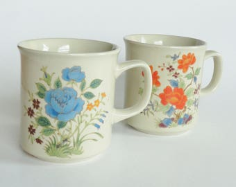 2 Vintage Floral JAPAN Mugs - Blue & Orange Flowers - Floral Coffee Mugs, Tea Cups, Coffee Cups, Hot Chocolate Cocoa Cup, Birthday Gift