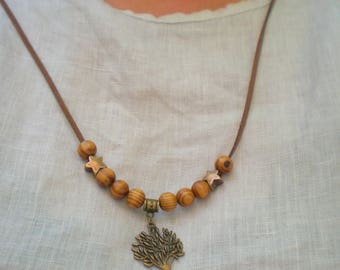 Zen Indian NECKLACE * Brown wood beads and tree of life *.