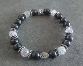 Bracelet énergétisé, well-being, Hematite and cracked Crystal, Pearl, Love and zen Buddha