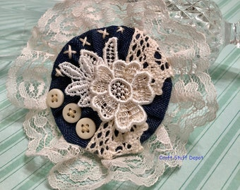 Denim Rosette, Craft Embellishment, Package Topper, Lace Floral, Home Decor, DIY Brooch, Hat Medallion, Gift Bow, Hair Embellishment, Rustic