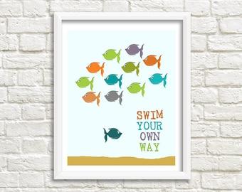 swim your own way - fish wall art - fish decor - fish bathroom - fish nursery - fish bathroom art - fish kids room - fish swimming