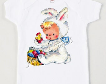 """Kids Easter Shirt - Bunny Tee Infant - """"Bunny Suit"""" - Sibling Shirt Easter - Easter Gift - Baby's First Easter -  Retro Vintage Personalized"""