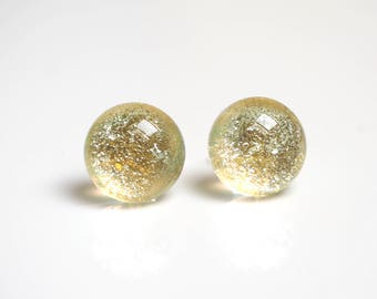 Gold Dichroic Earrings - Fused Dichroic Glass Earrings - Pale gold Stud Earrings - Gold Studs - Stud Earrings for Women - ES 630