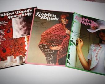 GOLDEN Hands CRAFT Magazine Books, SET of 3, crochet, stitchery, embroidery, weaving, needlepoint