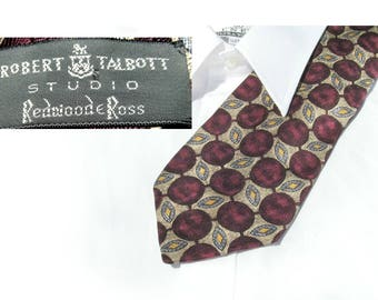 Silk necktie - burgundy tie - gold tie - men's silk tie - men's neck tie - men's accessories -  designer tie, gift for men,  # T 45